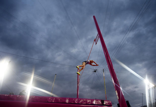 Germany's Martina Strutz competes during the women's pole vault final at the London 2012 Olympic Games