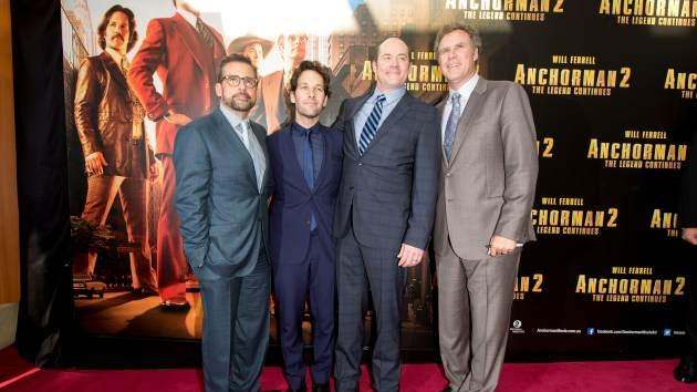 Will Ferrell, Steve Carell, Paul Rudd and David Koechner arrive at the 'Anchorman 2: The Legend Continues' Australian premiere on November 24, 2013 in Sydney, Australia -- Getty Images