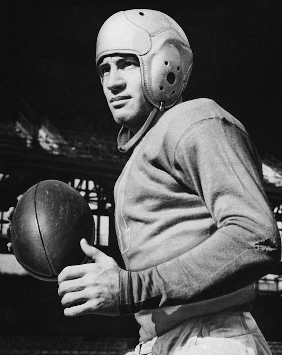 "This is an undated photo showing Brooklyn Dodgers quarterback Clarence ""Ace"" Parker. Parker, the oldest member of the Pro Football Hall of Fame, has died. He was 101. Bryan Johnson of B.W. Foster Fune"
