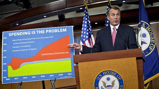 """FILE – In this Dec. 13, 2012 file photo House Speaker John Boehner accuses President Barack Obama of not being serious about cutting government spending during a Capitol Hill news conference in Washington. Boehner is insisting that Obama wants far more in tax increases than spending reductions and appears willing to walk the economy """"right up to the fiscal cliff."""" Lawmakers and the president on the brink of yet another compromise-or-else deadline Friday, March 1, 2013. (AP Photo/J. Scott Applewhite, File)"""