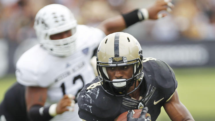 Purdue's Raheem Mostert runs for a touchdown against Western Michigan during an NCAA college football game Saturday, Aug. 30, 2014, in West Lafayette, Ind. Purdue won 43-34. (AP Photo/Journal & Courier, John Terhune) NO SALES