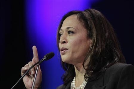 Attorney General Harris speaks at the 2014 California Democrats State Convention at the Los Angeles Convention Center in Los Angeles