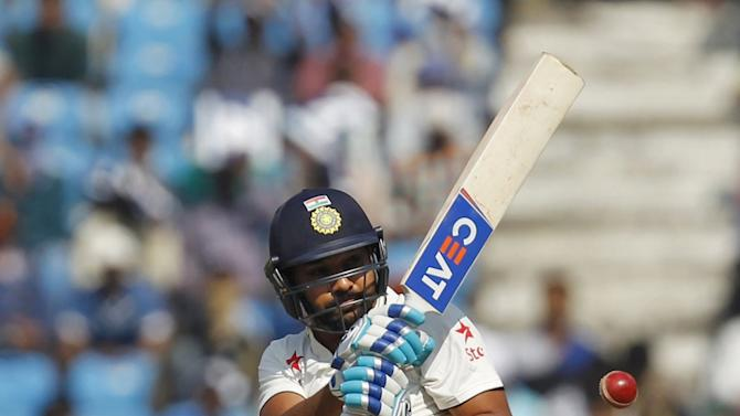 India's Sharma plays a shot on the first day of their third test cricket match against South Africa in Nagpur