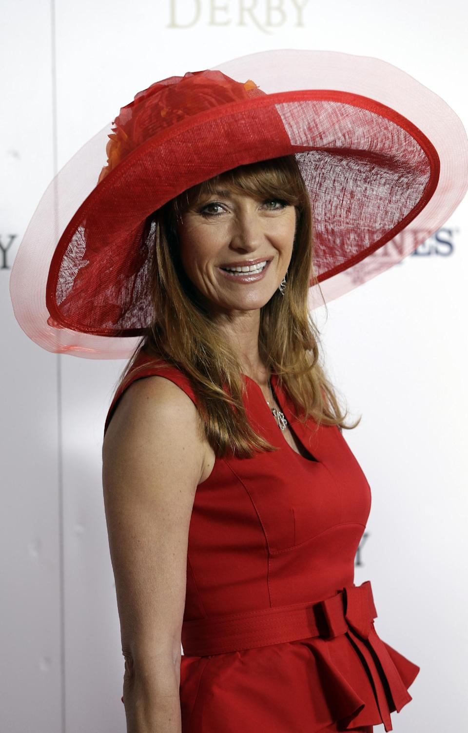 Actress Jane Seymour arrives to attend the 139th Kentucky Derby at Churchill Downs Saturday, May 4, 2013, in Louisville, Ky. (AP Photo/Darron Cummings)