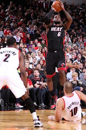 James scores 38 in 107-93 Heat win over Blazers