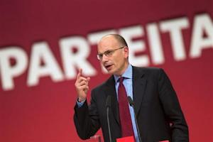 Italy's Prime Minister Letta speaks during a party congress of the Social Democratic Party in Leipzig