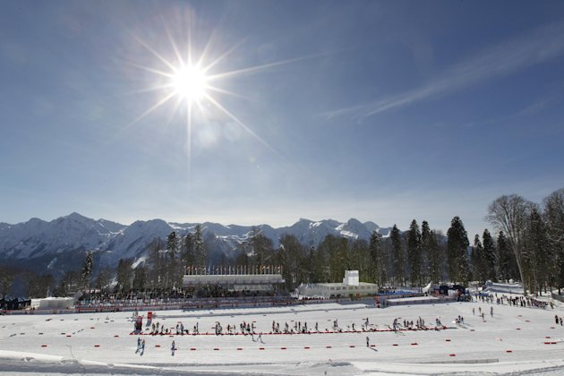 FOR STORY RUSSIA SOCHI YEAR TO GO - In this photo dated Sunday, Feb. 3, 2013, the sun shines over the ski stadium during the FIS Cross-Country World Cup in Sochi, Russia. With just one year till the o