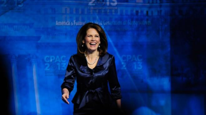 Michele Bachmann walks on stage before speaking at the 2013 Conservative Political Action Conference on March 16.