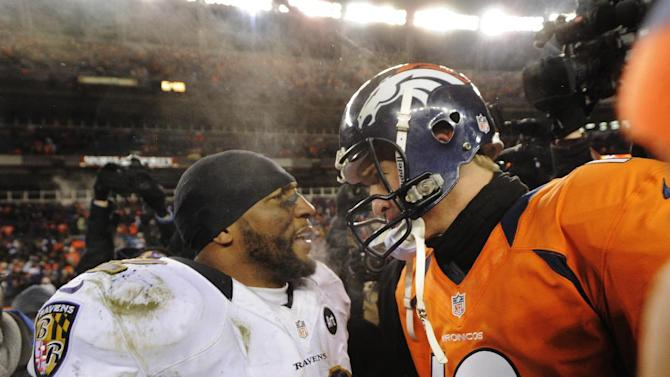 Baltimore Ravens inside linebacker Ray Lewis talks with Denver Broncos quarterback Peyton Manning (18) after the Ravens won 38-35 in overtime of an AFC divisional playoff NFL football game, Saturday, Jan. 12, 2013, in Denver. (AP Photo/Jack Dempsey)