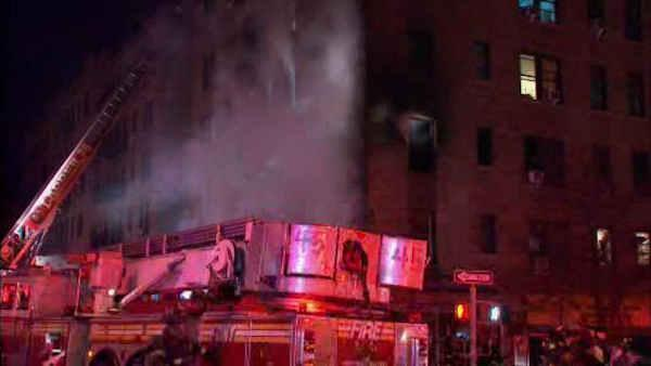 Fire tears through 55-apartment building in Washington Heights