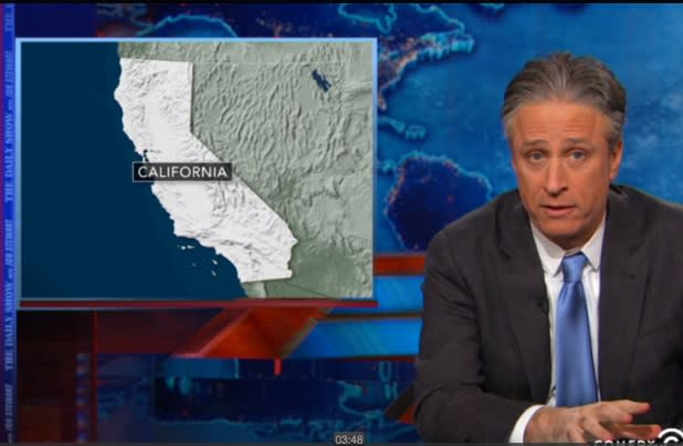 Jon Stewart Takes on California, Florida in Climate Change Spoof (Video)