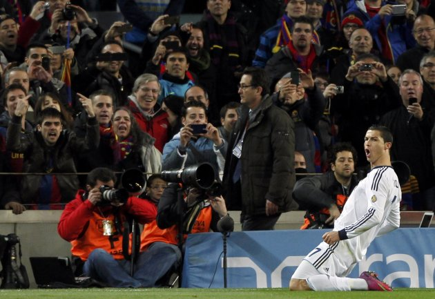 Real Madrid's Ronaldo celebrates after scoring a penalty against Barcelona during their Spanish King's Cup semifinal second round soccer match in Barcelona