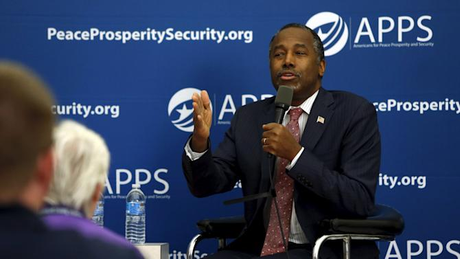 Carson addresses voters during a national security-themed event at the visitors center in Gaffney, South Carolina