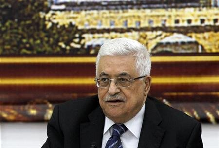 Palestinian President Abbas attends a meeting with Israeli politicians in Ramallah