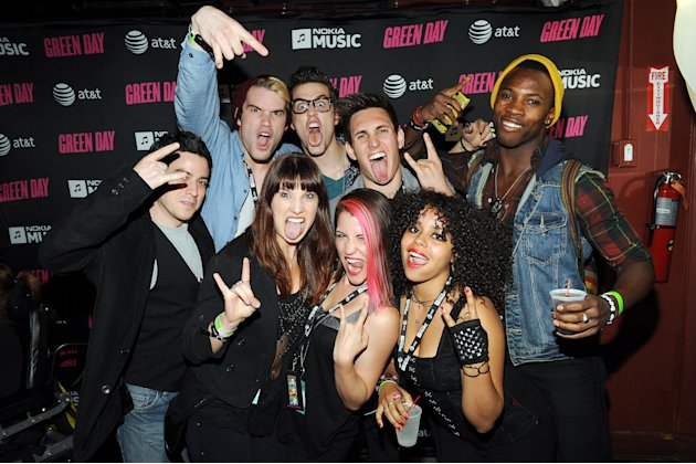 "The cast of the musical ""American Idiot"" attends the Green Day performance celebrating the launch of Nokia Music with AT&T at Irving Plaza on Saturday, Sept. 15, 2012 in New York. (Photo by Scott Grie"