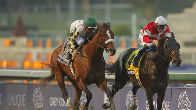 Brian Hernandez atop Fort Larned, crosses the finish line ahead of Mucho Macho Man with Mike Smith atop to win the running of the Breeders' Cup Classic horse race, Saturday, Nov. 3, 2012, at Santa Anita Park in Arcadia, Calif.  (AP Photo/Jae C. Hong)