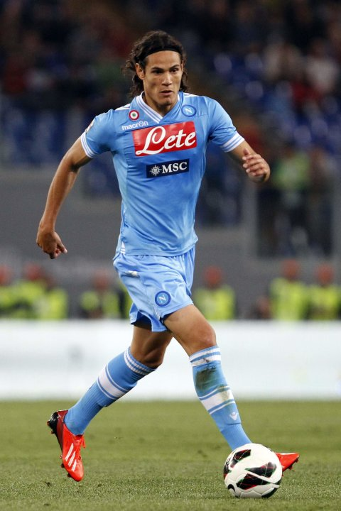 Napoli's Cavani controls the ball during their Italian serie A soccer match against AS Roma at the Olympic stadium in Rome