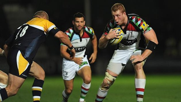 Harlequins player George Merrick (r) in action during the Aviva Premiership match between Worcester Warriors and Harlequins at Sixways Stadium on September 20, 2013 (Getty Images)