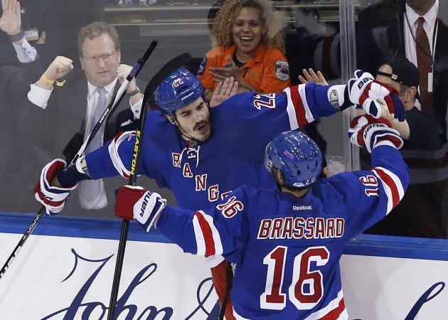 Rangers' Boyle celebrates with Brassard after he scored against the Bruins in Game 4 of their NHL playoff hockey series in New York
