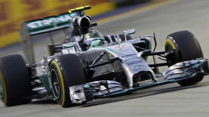 Mercedes Formula One driver Rosberg of Germany takes a corner during the first practice session of the Singapore F1 Grand Prix