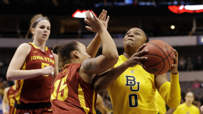 Baylor guard Odyssey Sims (0) drives against Iowa State guard Nicole Blaskowsky (15) as Hallie Christofferson (5) watches in the first half of their NCAA college basketball championship game in the Big 12 Conference tournament, Monday, March 11, 2013, in Dallas. (AP Photo/Tony Gutierrez)