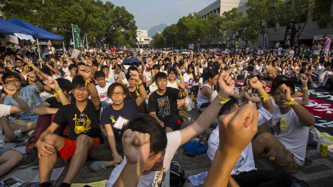 Students and teachers shout at a rally during the class boycott at the Chinese University of Hong Kong