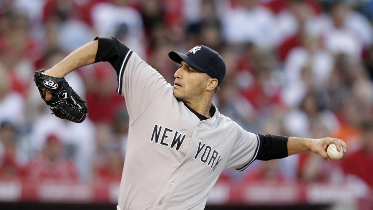 New York Yankees starting pitcher Andy Pettitte throws in the second inning of a baseball game against the Los Angeles Angels in Anaheim, Calif., Tuesday, May 29, 2012. (AP Photo/Jae C Hong)