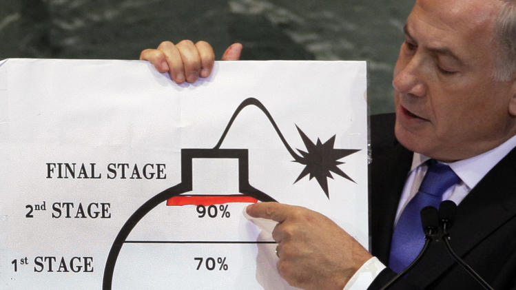 Prime Minister Benjamin Netanyahu of Israel shows an illustration as he describes his concerns over Iran's nuclear ambitions during his address to the 67th session of the United Nations General Assembly at U.N. headquarters Thursday, Sept. 27, 2012. (AP Photo/Richard Drew)