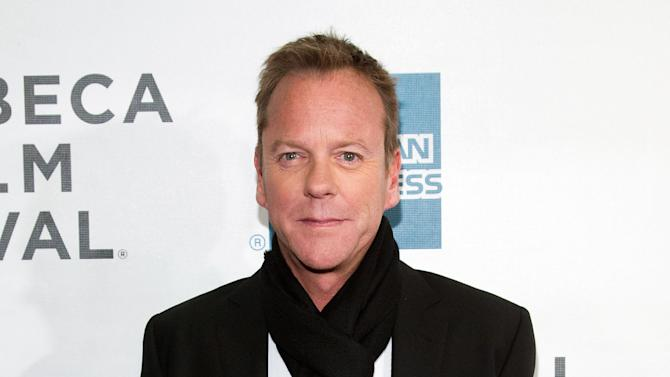 "FILE - This April 21, 2013 photo shows actor Kiefer Sutherland at the premiere of ""The Reluctant Fundamentalist"" during the 2013 Tribeca Film Festival in New York. ""Metal Gear Solid"" creator Hideo Kojima says Sutherland will play protagonist Snake in the next installment of the stealth video game series. The character has been portrayed by voice actor David Hayte since the first ""Metal Gear Solid"" game in 1998. (Photo by Dario Cantatore/Invision/AP, file )"