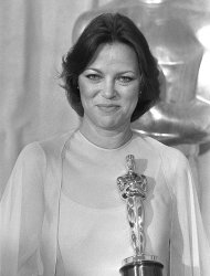 "File - In this March 29, 1976 file photo, actress Louise Fletcher holds the Oscar for ""Best Actress"" which she won for her performance in ""One Flew Over The Cuckoo's Nest"" at the Academy Awards in Los Angeles. Fletcher says she's no longer able to watch the movie ""One Flew Over the Cuckoo's Nest"" because the character she won an Oscar for, Nurse Ratched, is so cruel. Fletcher will be in Salem, Ore., on Saturday, Oct. 6, 2012 for the opening of a museum of mental health at the rebuilt Oregon State Hospital, where the 1975 movie was filmed. (AP Photo/File)"
