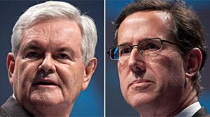 Gingrich and Santorum Criticize Obama on Constitution