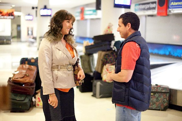 """In this image released by Sony Pictures, Adam Sandler portrays both Jill, left, and Jack in a scene from """"Jack & Jill."""" Sandler shattered the record for most nominations ever at the Razzies, an Academy Awards spoof that singling out the worst movies of the year. His 11 nominations Saturday included worst actor for both ?Jack and Jill? and ?Just Go with It? _ along with worst actress for ?Jack and Jill,? in which he plays a family man and his own twin sister. (AP Photo/Sony - Columbia Pictures, Tracy Bennett)"""