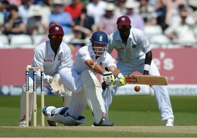 NOTTINGHAM, ENGLAND - MAY 27:  Andrew Strauss of England hits out during the Second Investec Test Match between England and West Indies at Trent Bridge on May 27, 2012 in Nottingham, England.  (Photo