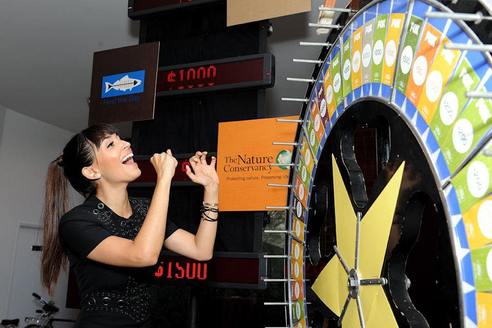 "Hannah Simone of ""New Girl"" spins the wheel for charity at the 2011 Fox Fall Eco-Casino Party at The BookBindery on September 12, 2011 in Culver City, California."