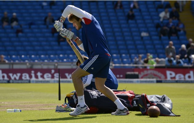 England's Compton practices before the second test cricket match against New Zealand in Leeds