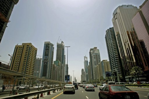 A picture dated April 27, 2008 shows buildings along Sheikh Zayed Road in Dubai. Dubai&#39;s government has unveiled its budget for 2013, setting expenditure at 34.12 billion dirhams ($9.3 billion) and a deficit at 0.5 percent of gross domestic product