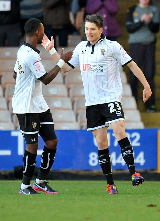 Ryan Burge, right, scored the second goal as Port Vale beat Aldershot