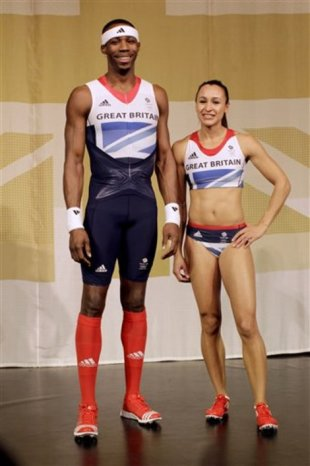 British triple jumper Phillips Idowu, left, and heptathlete Jessica Ennis pose wearing the new Olympic uniforms designed by Stella McCartney. (AP Photo/Matt Dunham)