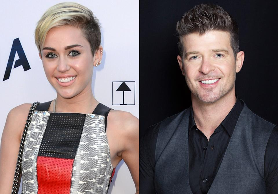 This combination of August 2013 file photos shows Miley Cyrus, left, in Los Angeles and Robin Thicke in New York. Cyrus and Thicke are scheduled to perform their summer anthems at the MTV Video Music Awards on Aug. 25, 2013. (Photo by Jordan Strauss, Victoria Will/Invision/AP)