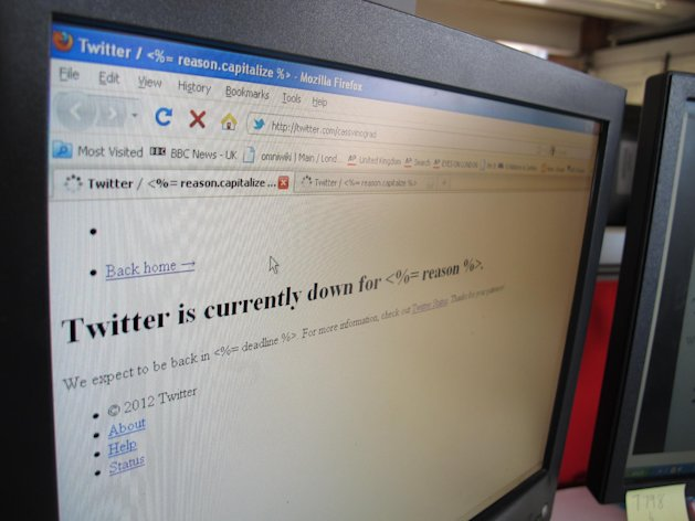 This an an image of a screen displaying the the micro-blogging site Twitter in London Thursday July 26, 2012. Twitter says that people may have trouble accessing its site. Users across the United States, Europe and Africa are reporting outages or sluggishness on the day before the London 2012 Games are expected to cause a spike in activity on the site. (AP Photo/Cassandra Vinograd)