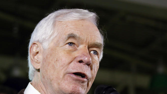 FILE - In this Tuesday, Nov. 4, 2014, file photo, Sen. Thad Cochran, R-Miss., speaks to supporters following his victory over Democrat Travis Childers and Reform Party candidate Shawn O'Hara, at his victory party in Jackson, Miss. In a statement released Monday, May 25, 2015, Cochran's office said he married longtime aide Kay Webber in a private ceremony on Saturday in Gulfport, Miss. (AP Photo/Rogelio V. Solis, File)