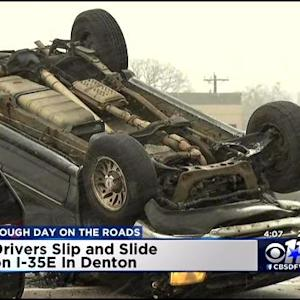 Overturned Car Crash On I-35 In Lewisville