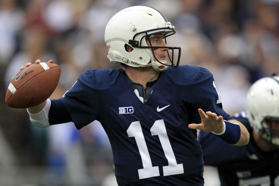 Penn State quarterback Matthew McGloin (11) passes during the second quarter of an NCAA college football game against Northwestern in State College, Pa., Saturday, Oct. 6, 2012. (AP Photo/Gene J. Puskar)