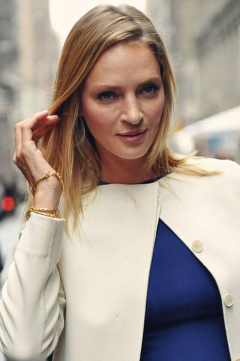 Uma Thurman attends the Calvin Klein Collection Spring 2012 fashion show at Mercedes-Benz Fashion Week in New York City, 2011.