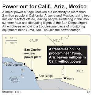 Map shows power outage in Calif., Ariz., Mexico