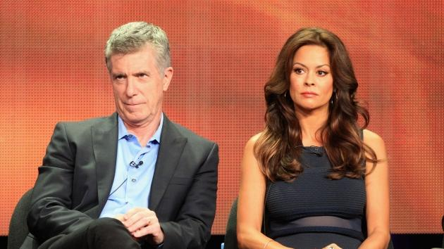 Tom Bergeron and Brooke Burke-Charvet speak onstage at the 'Dancing with the Stars: All-Stars' panel during the Disney/ABC Television Group portion of the 2012 Summer TCA Tour on July 27, 2012 -- Getty Images