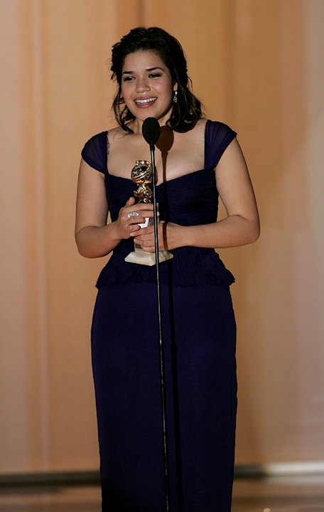 "Beautiful TV newcomer America Ferrera wins Best Actress for her performance in ""Ugly Betty"" at  the 64th annual Golden Globe Awards."