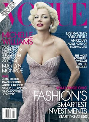A magazine cover image released by Vogue, shows the Oct. 2011 issue featuring actress Michelle Williams.  The 31-year-old actress says in the magazine's October issue that death of Heath Ledger has changed her daily interactions, career and how she acts as a parent and friend.  (AP Photo/Vogue)