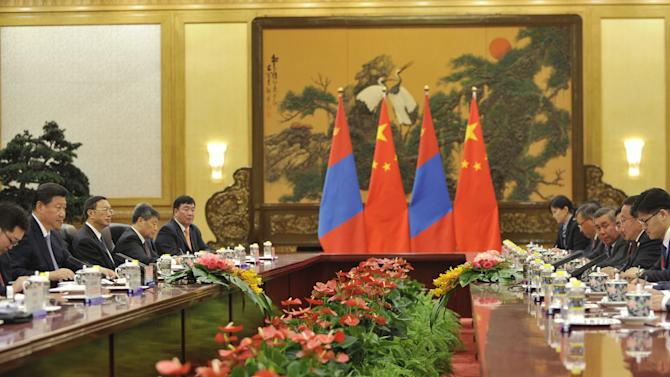 Chinese President Xi attends a meeting with Mongolian President Elbegdorj at the Great Hall of the People in Beijing