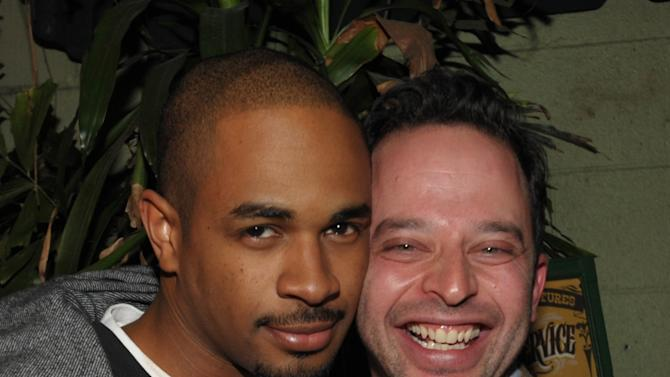 "IMAGE DISTRIBUTED FOR ENTERTAINMENT WEEKLY - Actor Damon Wayans Jr., left, and actor/comedian Nick Kroll attend an exclusive screening of Comedy Central's ""Kroll Show"" hosted by Entertainment Weekly on Tuesday, January 15, 2013 at LA's Silent Movie Theatre in Los Angeles. (Photo by John Shearer/Invision for Entertainment Weekly/AP Images)"